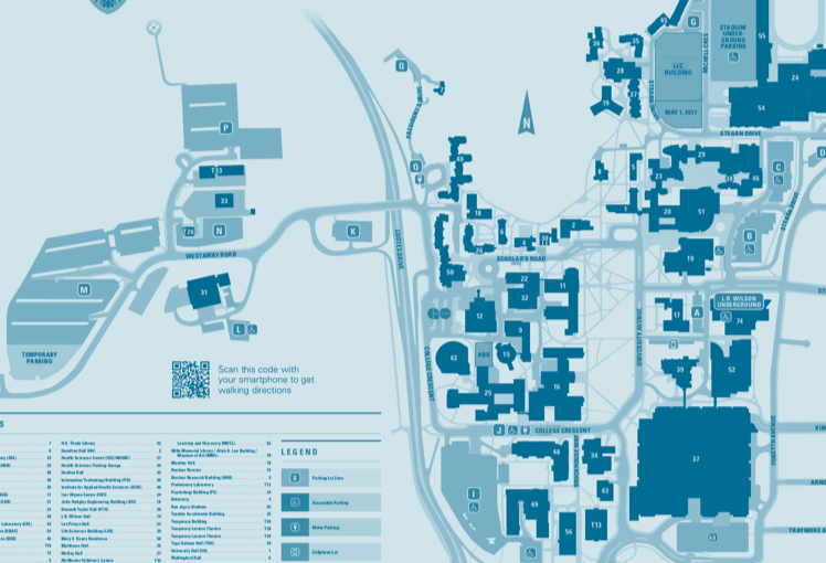 2D map of McMaster campus