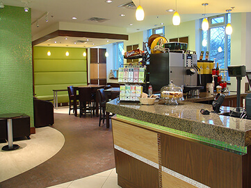 Small cafe with small snacks, coffee, and other beverages