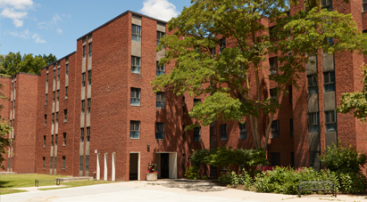 Large, red-brick student residence building