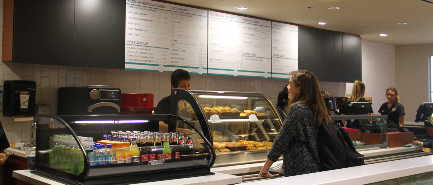 Bistro @ DSB - Restaurant counter displaying baked goods and beverages