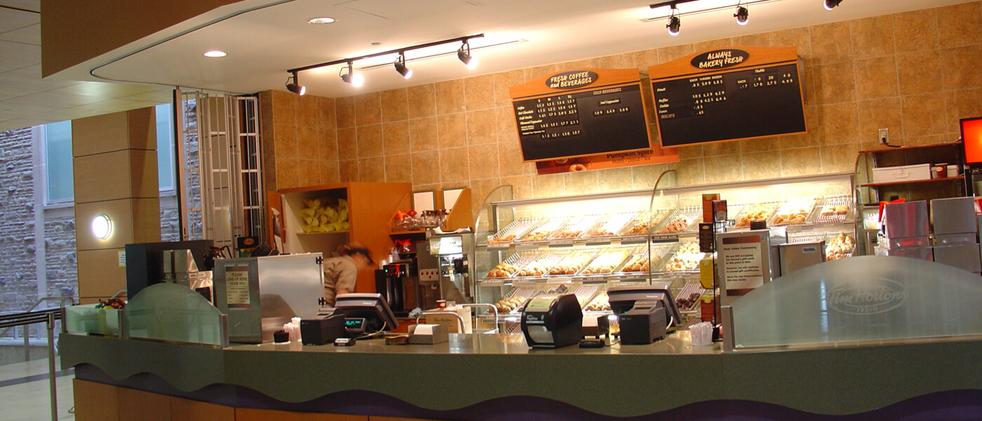 Tim Hortons fast food order counter with bakery display