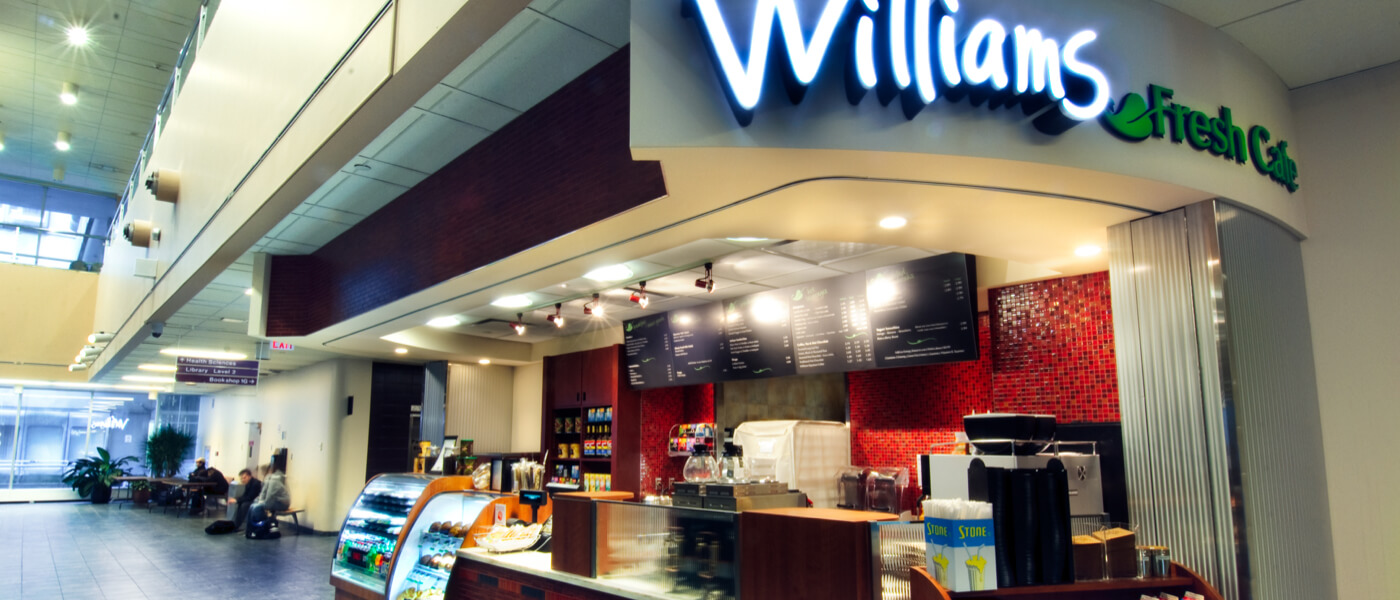 Williams Fresh Cafe inside campus building